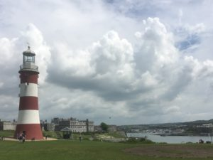 Lunchtime at The SAS conference, Plymouth, 2016.. Smeaton's Tower on the Hoe.