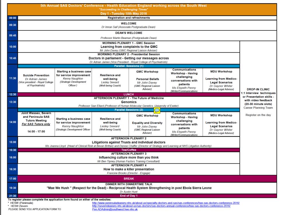 SAS conference programme
